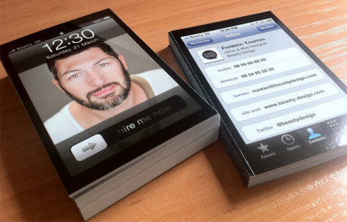 15 business card designs for your inspiration nuno ricardo da iphone someones an iphone and facebook fan one does not simply laugh at this card without touching on it image source beasty design reheart Image collections